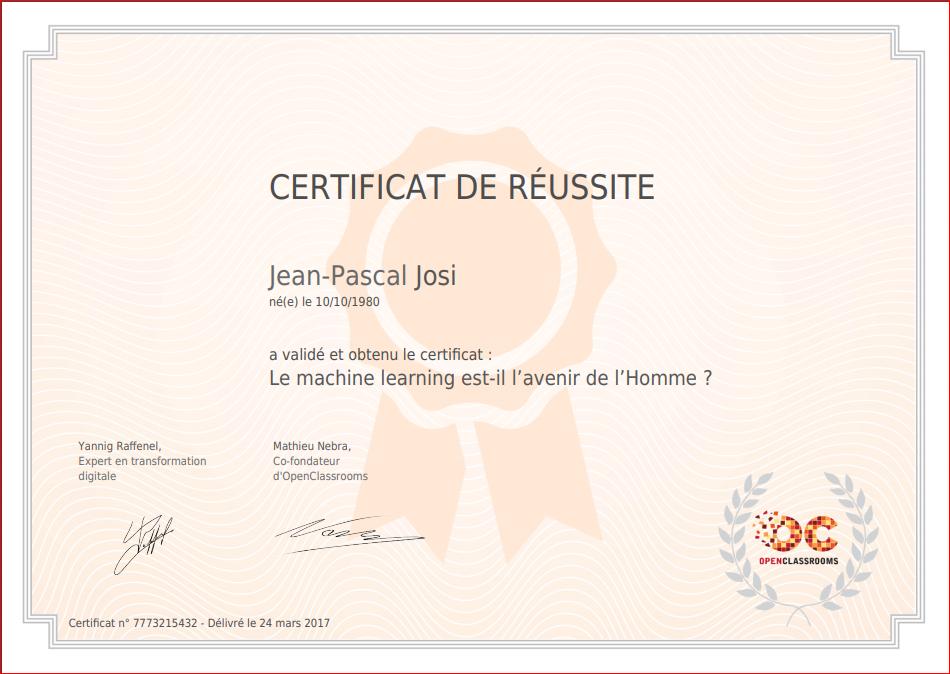 Certificates Of Josi Jean Pascal